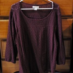 Womens blouse, burgundy in color